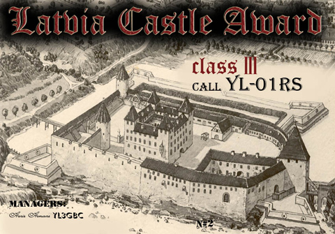 Latvia Castle Award Nr2 to Alex YL-RS-01
