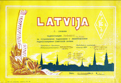 """LATVIJA"" award Nr.1 1963 to SWL A.Vilks (UQ-2-22317)"