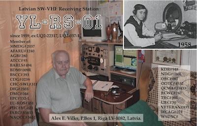 Alex Vilks YL-RS-01 QSL card